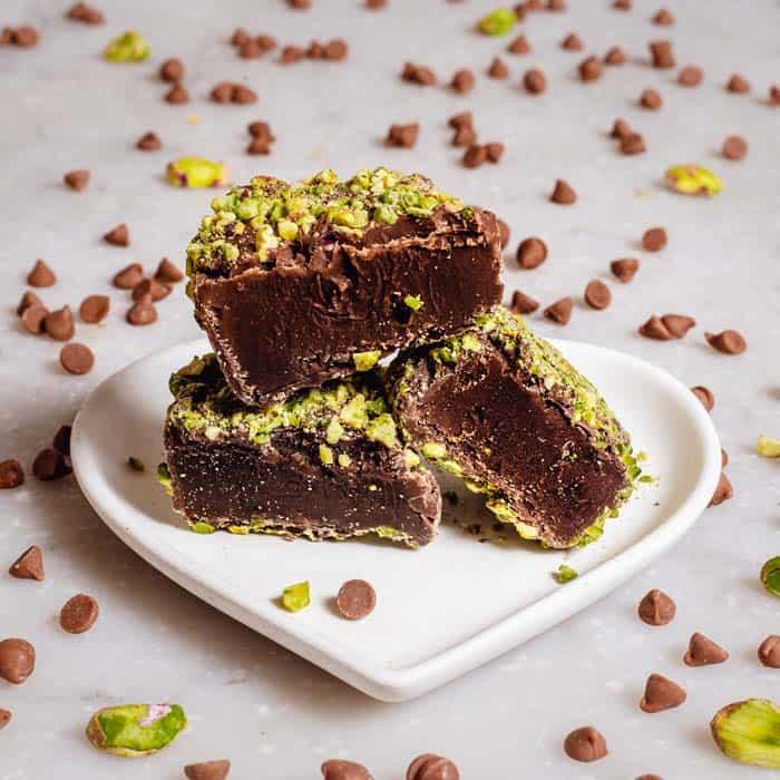 Pistachio Chocolate Dipped Fudge